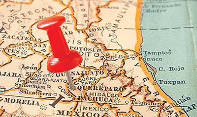 Map of Mexico with pin placed in Queretaro, Mexico